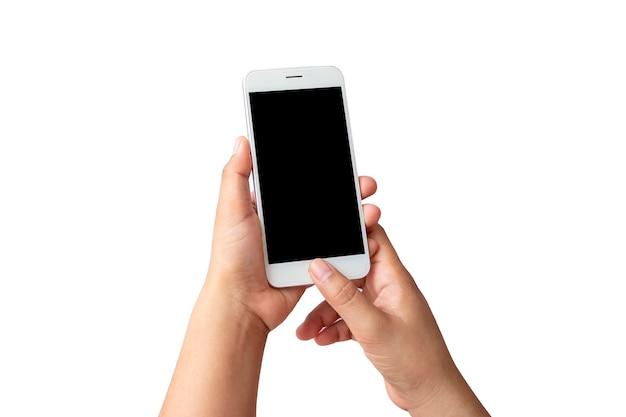Die hand hält den weißen bildschirm, das mobiltelefon ist auf einem weißen hintergrund mit dem beschneidungspfad isoliert.