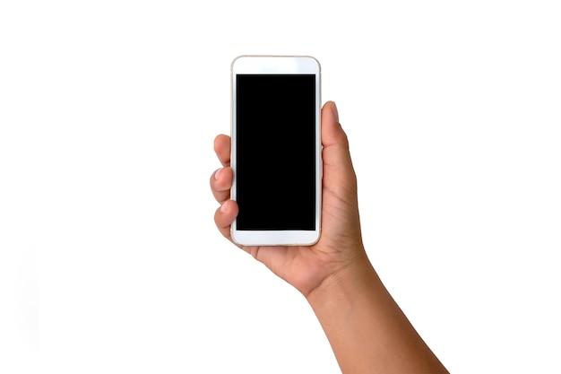 Die hand hält den weißen bildschirm, das mobiltelefon ist auf weißem hintergrund isoliert