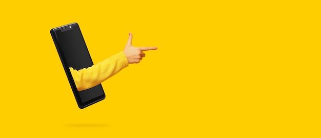 Die hand zeigt mit dem finger auf etwas, das aus dem smartphone-bildschirm herausragt