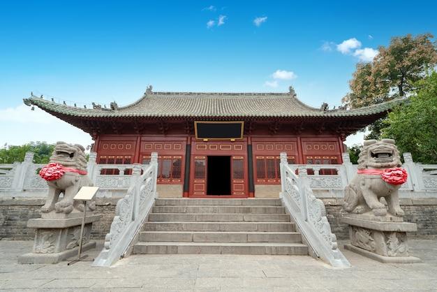 Die haupthalle des zhougong-tempels hat eine mehr als 400-jährige geschichte in luoyang, china.