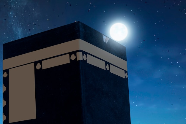 Die heilige kaaba mit dem nachtszenenhintergrund