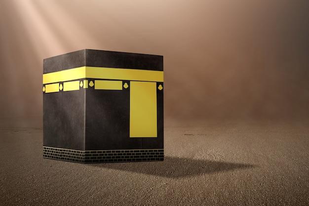 Die heilige kaaba mit sonnenlichthintergrund