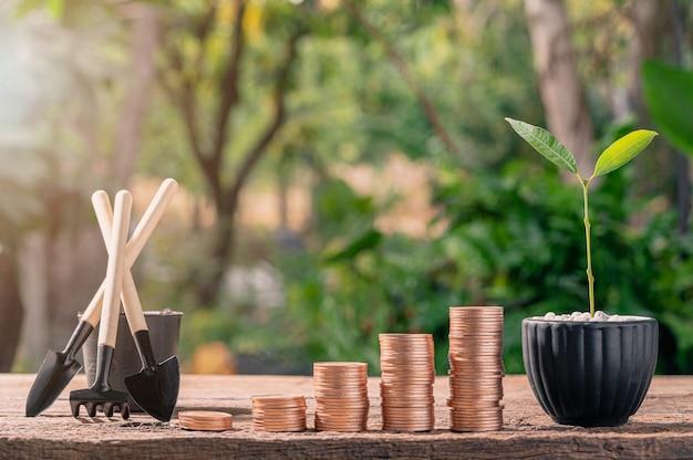 Die idee ist, geld mit gestapelten münzen zu verdienen, anstatt an bäumen zu wachsen.