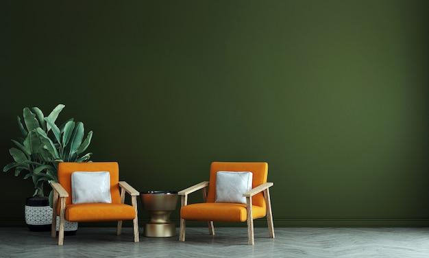 Die innenarchitektur des wohnzimmers und des grünen wandmusterhintergrunds, 3d-darstellung