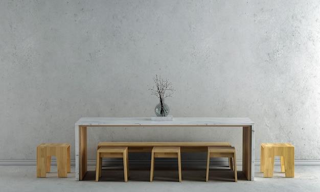 Die innenarchitekturdekoration und die mock-up-möbel des esszimmers und die leere betonwand textur hintergrund 3d-rendering