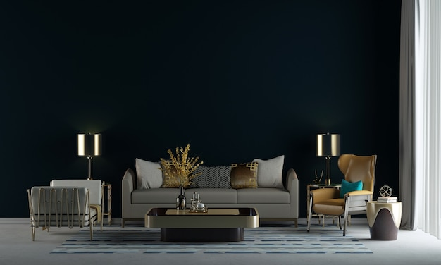 Die innenarchitekturdekoration und die mock-up-möbel des modernen wohnzimmers und die leere schwarze wandtexturhintergrund-3d-rendering