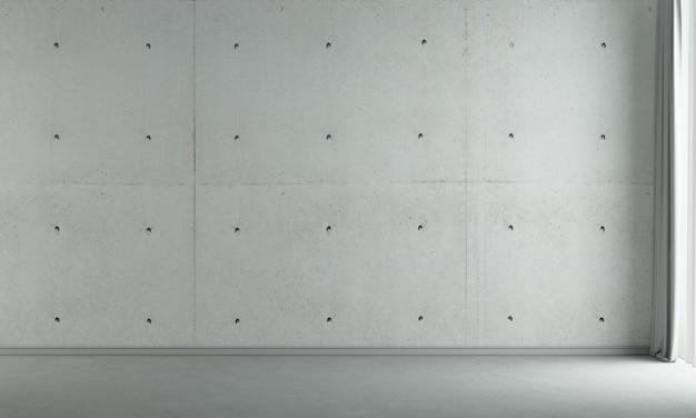 Die innenarchitekturdekoration und mock-up-möbel des leeren wohnzimmers und der betonwandbeschaffenheitshintergrund-3d-wiedergabe