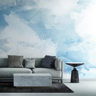 Die innenarchitekturdekoration und mock-up-möbel des wohnzimmers und des blauen himmelsmusterwandbeschaffenheitshintergrundes 3d-rendering