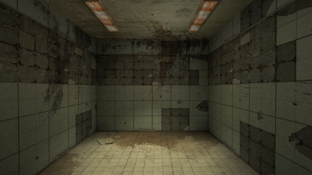 Die innenausstattung von horror und gruseligem schaden leerer raum, 3d-rendering.