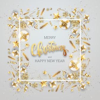 Die inschrift frohe weihnachten in einem goldenen rahmen von weihnachten spielzeug. postkarte, flyer, einladungskarte.