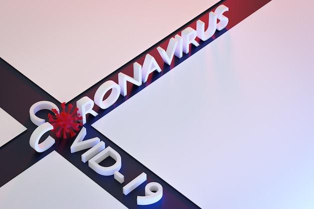 Die inschrift in rot mit einigen mikroben anstelle von buchstaben auf rotem isoliertem hintergrund. rendering des coronovirus-virus.