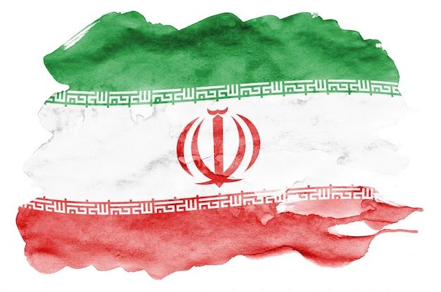 Die iran-flagge wird in der flüssigen aquarellart dargestellt, die auf weiß lokalisiert wird