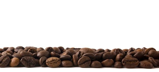 Die kaffeebohnen liegen flach am unteren rand des rahmens und lassen den fuchs für kopienraum.