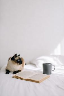 Die katze liegt auf dem bett und schaut aus dem fenster neben einem offenen buch und steht eine tasse kaffee oder tee. vertikales foto