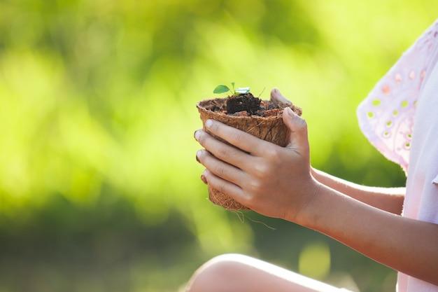 Die kinderhand, die junge sämlinge herein hält, bereiten fasertopf für das pflanzen im garten auf