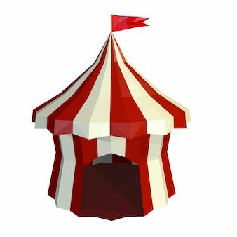 Die kuppel des zirkus ist auf einem weißen hintergrund isoliert. zirkus. low-poly-stil.