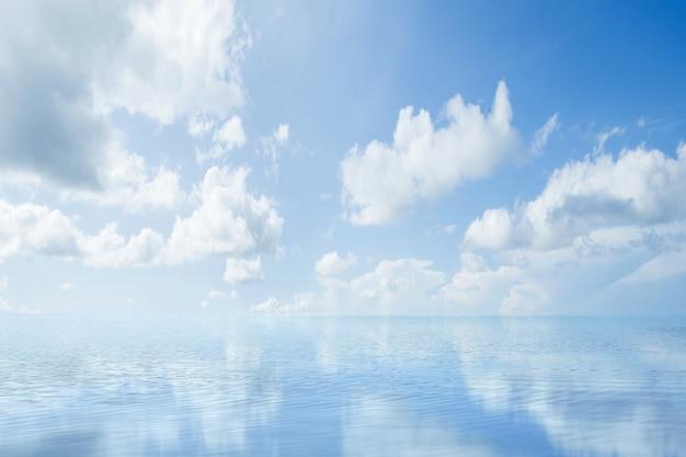 Die landschaft eines sees mit einem blauen himmelhintergrund