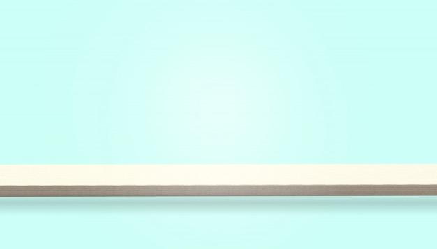 Die leere oberseite der hölzernen tabelle oder des zählers, die auf blauem hintergrund lokalisiert werden, kann für anzeige oder montage ihre produkte benutzt werden