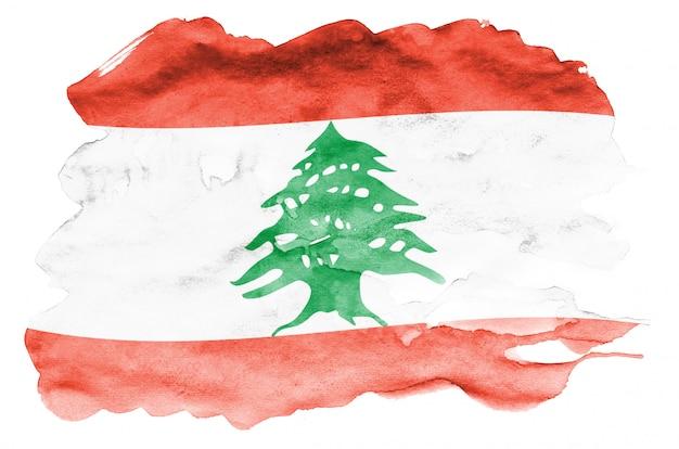 Die libanon-flagge wird in der flüssigen aquarellart dargestellt, die auf weiß lokalisiert wird