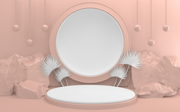 Die light pink podium minimal design produktszene. 3d-rendering