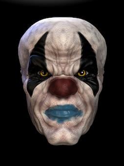 Die maske eines bösen clowns. 3d-darstellung