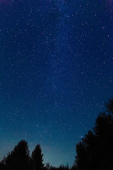 Die milchstraße. ein schöner sommernachthimmel im august mit sternen. starfall, die fallenden perseiden. hintergrund