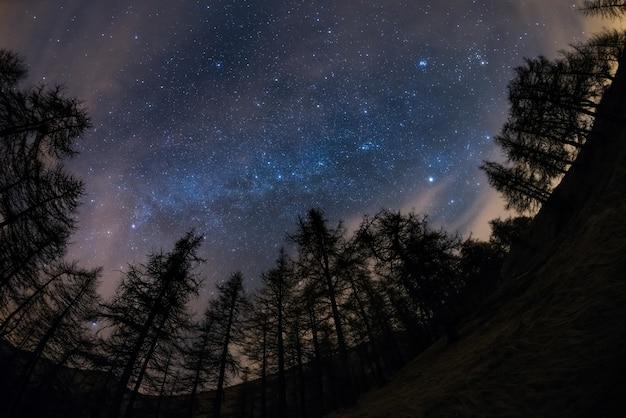 Die milchstraße von hoch oben in den alpen gesehen