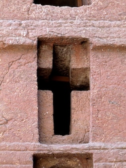 Die monolithische orthodoxe kirche in der stadt lalibela, äthiopien
