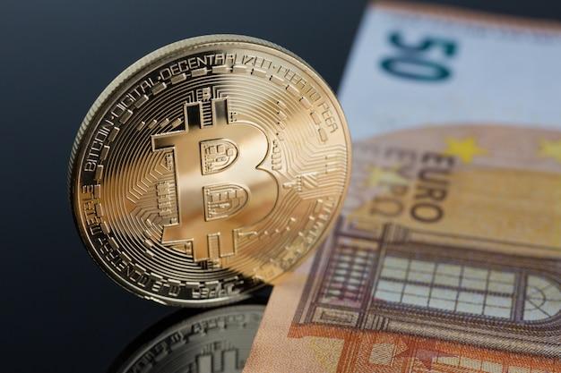 Die münze der kryptowährung bitcoin