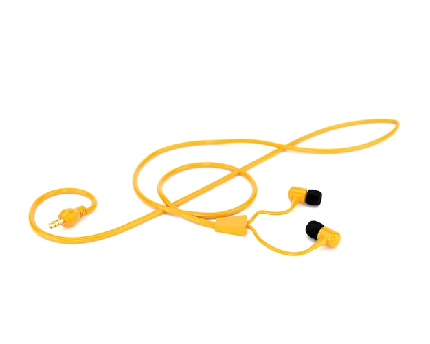 Die musikkonzeptkopfhörer mit einem gelben kabel in form eines violinschlüssels lokalisiert auf weißem hintergrund. 3d darstellung.