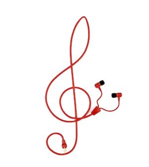 Die musikkonzeptkopfhörer mit einem roten kabel in form eines violinschlüssels lokalisiert auf weißem hintergrund. 3d darstellung.