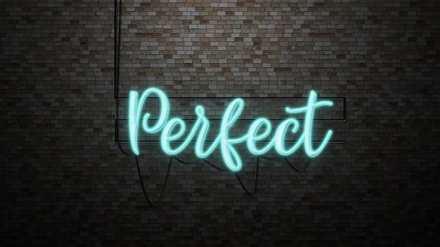 Die nachricht perfekt mit neonlicht an der backsteinmauer