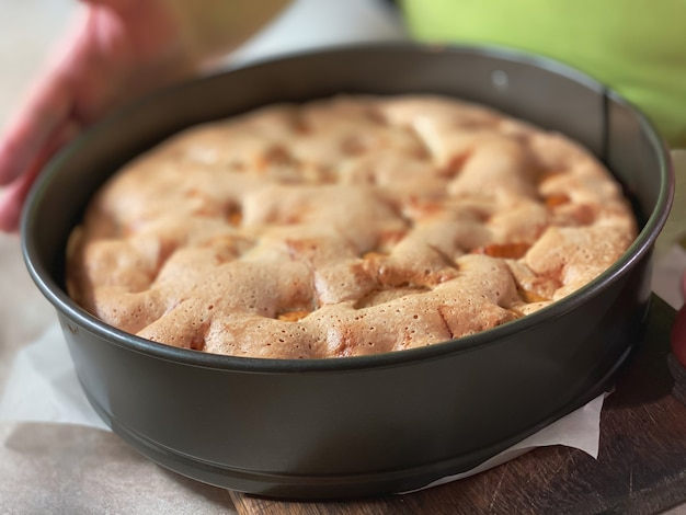 Die nahaufnahme des gekochten biskuitkuchens mit äpfeln, ansicht von oben. lebensmittel texturen.