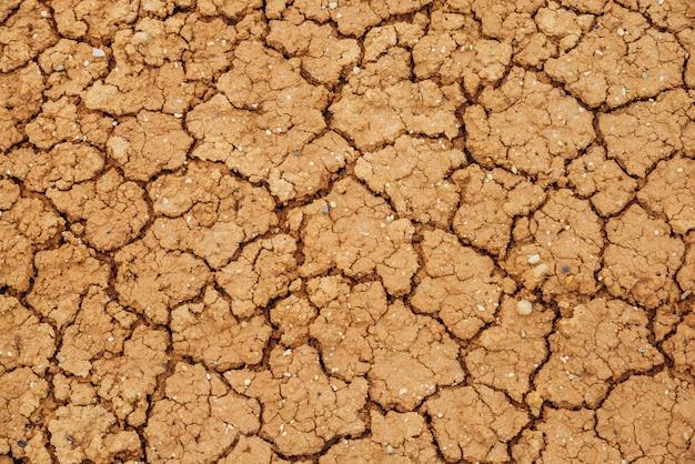 Die natur hat trockenes land geknackt. natürliche textur des bodens mit rissen. gebrochene tonoberfläche der kargen trockenland-ödland-nahaufnahme. vollbild zum gelände mit trockenem klima. leblose wüste auf erden hintergrund