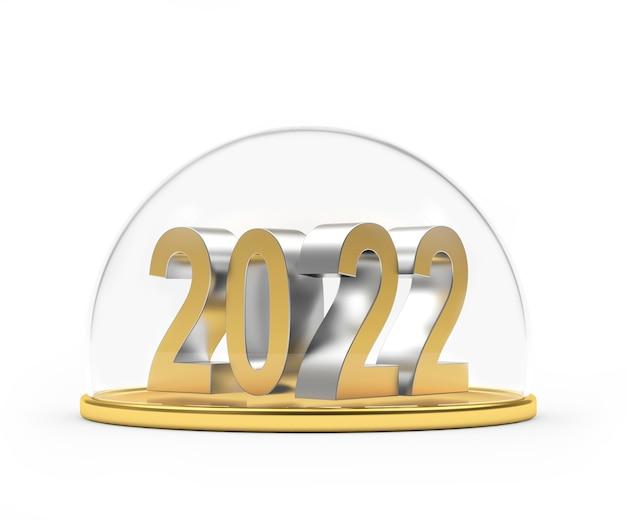 Die neujahrszahlen auf dem goldenen tablett sind durch einen transparenten deckel geschützt
