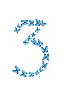 Die nummer drei von blauen tropischen schmetterlingen isoliert auf weißem hintergrund.