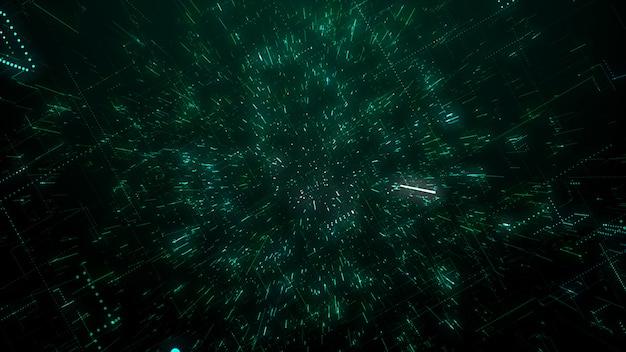 Die oberfläche der technologie mit chaos- und gitterlinien ist ein abstraktes computerbild mit chromatischen aberrationen. digitale kunst: ein dunkler technischer, science-fiction- oder sci-fi-hintergrund. 3d-illustration