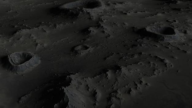 Die oberfläche des mondes in kratern nahaufnahme