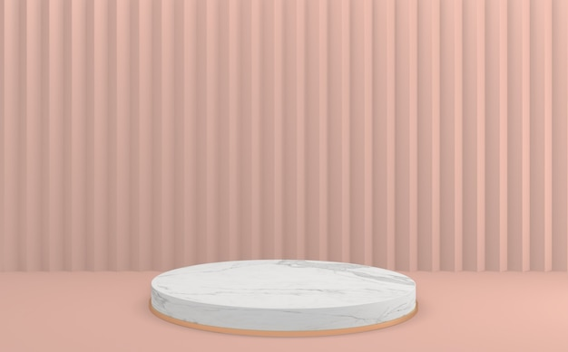 Die produkt-szene mit minimalem design auf dem leeren rosa podium. 3d-rendering