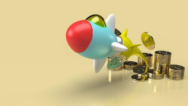 Die raketen- und goldmünzen für das 3d-rendering von unternehmensinhalten.