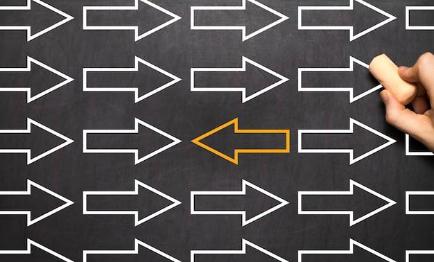 Die richtung ändern - management business concept blackboard