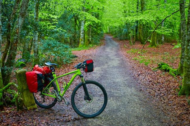 Die roncesvalles-buche beginnt mit dem fahrrad von way of sain james