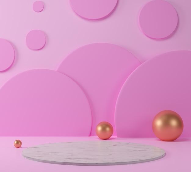 Die rosa cremeszene der geometrischen form 3d rendern minimal mit marmorpodest.