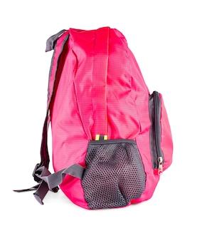 Die rosa frauensporttasche lokalisiert auf weiß
