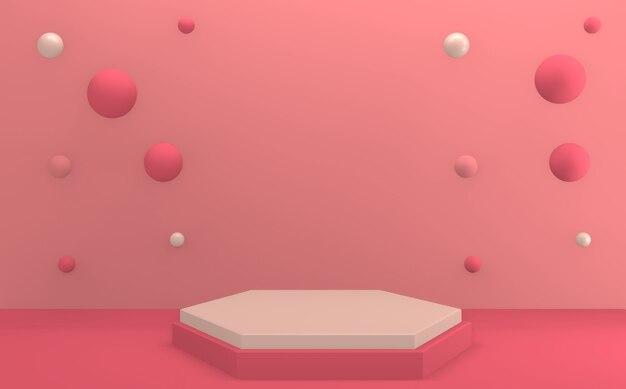 Die rosa wiedergabe des minimal valentine rosa podiums 3d