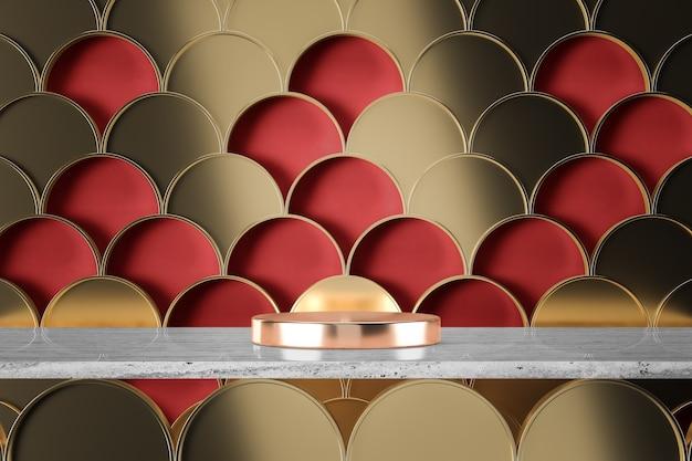 Die rosengoldene metallbasis auf weißem marmor, goldene fischschuppengrafik auf rotem hintergrund. 3d-rendering