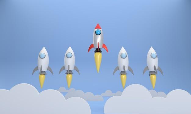 Die rote rakete, die hoch aufsteigt und anders ist als andere raketen startup-business-erfolgskonzept