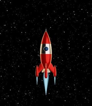 Die roten und weißen farben der spielzeugraumrakete fliegen auf einem hintergrund des sternenhimmels