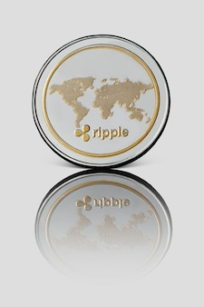 Die rückseite einer wellenmünze mit reflexion auf einer weiß glänzenden oberfläche. digitales geldkonzept.