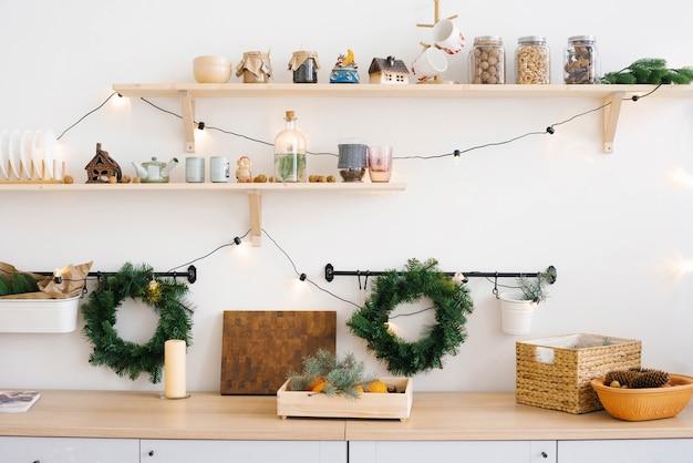 Die rustikale küche zu weihnachten